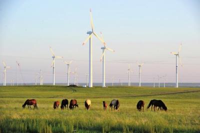 内蒙古草原上采用包钢钢材制造的风力发电机。资料图片