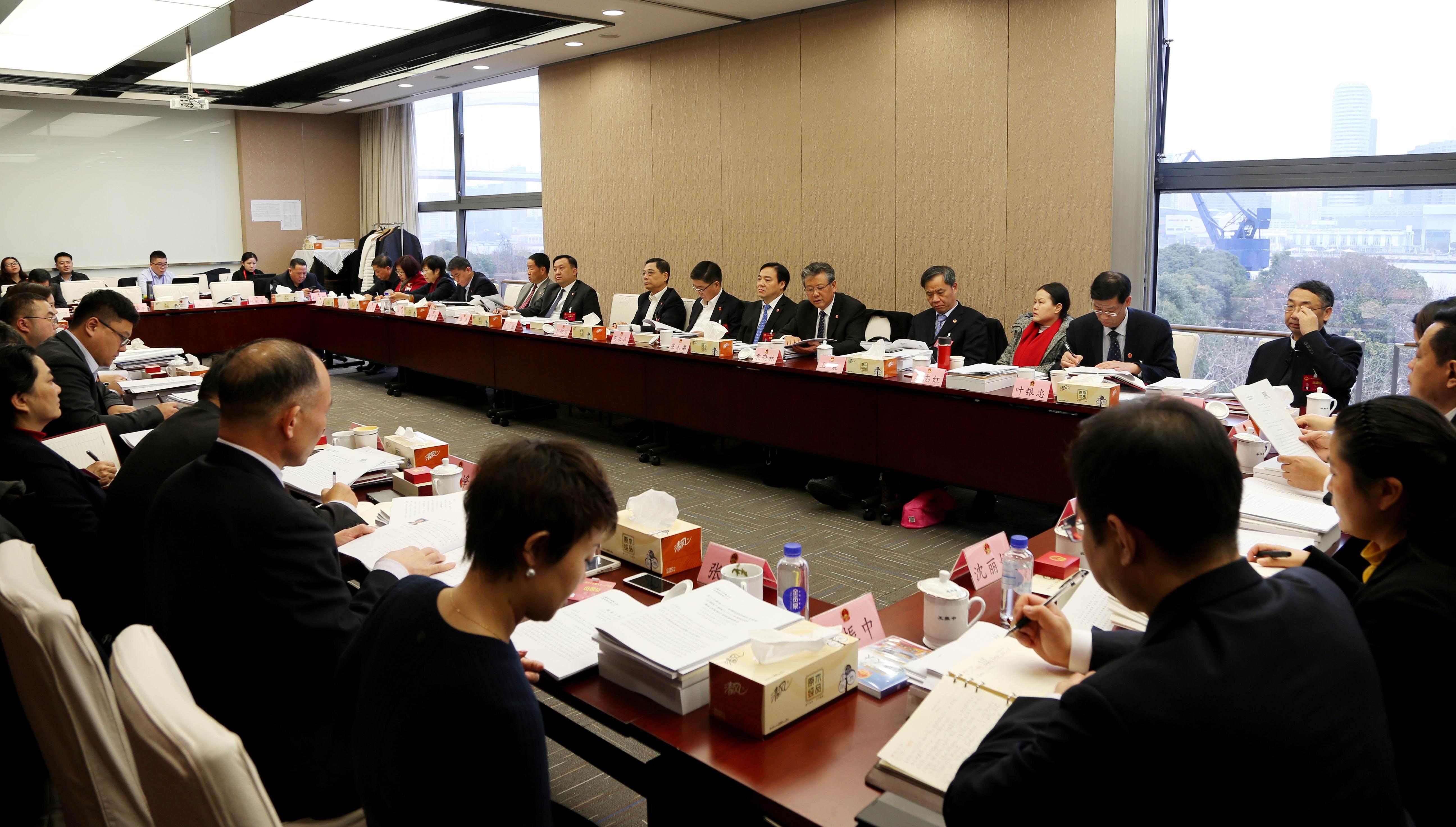 上海市政府领导参加审议政府工作报告