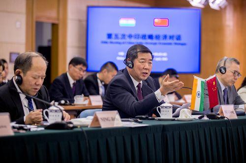 4月14日,国家发展改革委主任何立峰在第五次中印战略经济对话上发言。记者苗露 摄