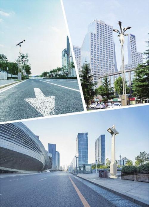 智慧路灯杆应用于城市道路。文青波/供图