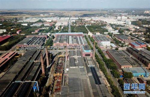 这是无人机拍摄的中国一重集团有限公司的厂区(2018年9月27日摄)。 新华社记者 王建威 摄