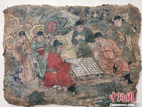 元代壁画《对弈图》 杨佩佩 摄