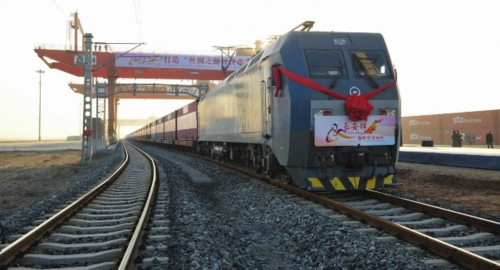 """中欧班列""""长安号""""整装待发。西安国际港务区供图"""