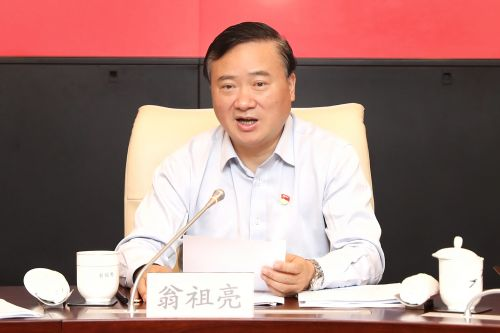 图为上海市委常委、区委书记翁祖亮