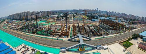 航拍北京铁路枢纽丰台站改建项目