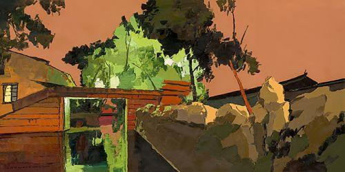 木渎古镇之夜 尺寸100x200cm 2014年