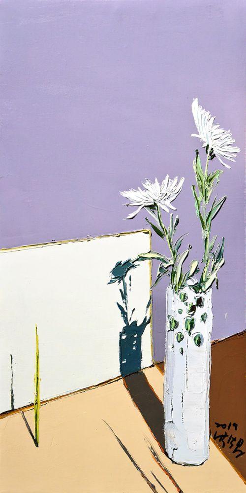 菊花  尺寸80X40cm 布面油画 2019年