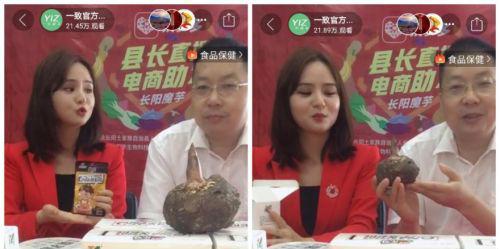 ▲6月23日,湖北长阳县县长李军做客拼多多直播间,为出口魔芋带货,助力出口企业开拓内销市场。