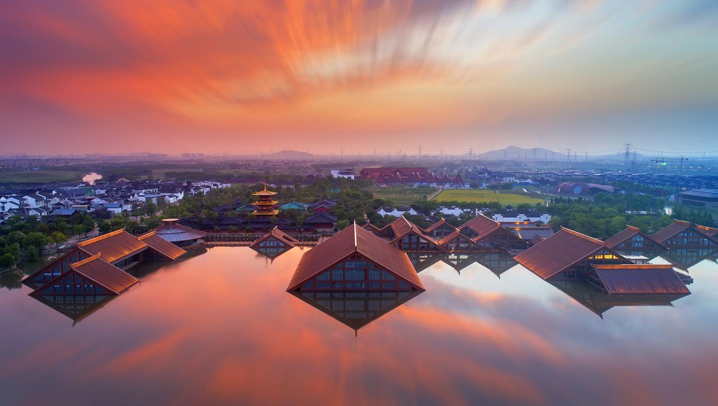 夕阳下的松江广富林文化遗址
