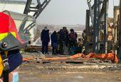 山东栖霞笏山金矿爆炸救援现场:井筒钻杆已下探到360多米