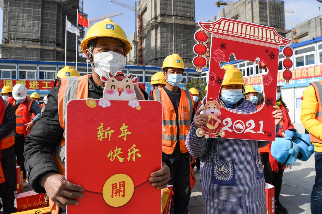 """中建三局上海项目工人们""""就地过年"""""""