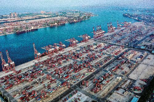 天津港鸟瞰图。天津市发展改革委 供图