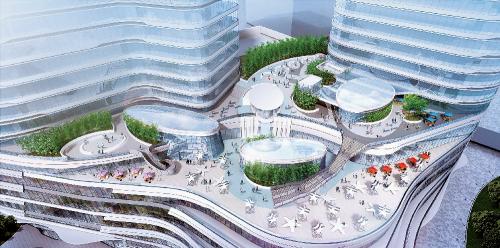 """坐落于广州市中心城区越秀区,沿珠江而建、与两条地铁线相连的""""星寰国际商业中心""""(效果图),由双子塔高品质办公楼与大型商场组成,是集商业、办公及生活于一体的动态社区。项目无缝连接地铁二号线及六号线海珠广场站,周边还有超过 50 条公交线、直通巴士路线及机场快线,更毗邻码头,水陆交通便利。项目一期荣获 2019 年度""""REARD 全球地产设计大奖""""商办类建筑银奖。"""