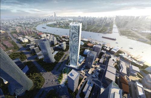 """恒基地产""""星Lumina""""品牌的另一重点项目——""""星扬西岸中心""""(效果图),坐落于上海徐汇滨江核心位置,享有完善的交通网络和临江优势。一期项目由国际知名建筑设计公司Gensler打造,楼体造型灵感来自白玉兰萌芽及含苞待放,是雅致与力量的象征。项目将包括一幢楼高61层的地标式办公楼,可提供16.7万平方米的甲级写字楼楼面以及2万平方米的商场,亦有多家餐饮集团和著名运动品牌洽商进驻。"""