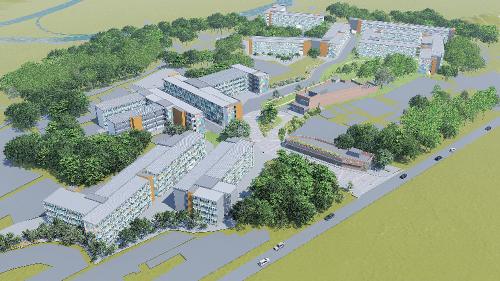 """恒基地产视可持续发展为长远目标,持续为社会带来积极效应。集团是全港首家支持社会房屋项目的地产发展商,至今已支持了 9个项目,其中香港首个组合社会房屋项目""""南昌220""""已经落成,租户于 2020 年入住。此外,集团更借助于元朗江夏围 42.8 万平方尺的土地,兴建全港最大的过渡性社会房屋项目,目标惠及近1万个家庭,共约4万人。图为元朗江夏围过渡性社会房屋项目效果图。"""