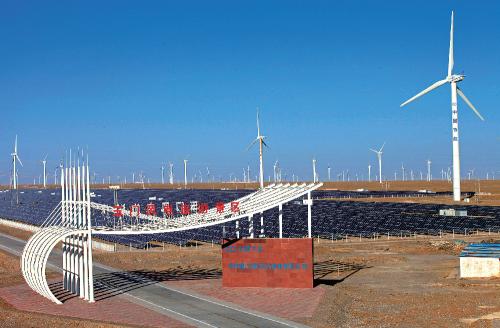 国家首个千万千瓦级风电基地启动项目节能风电玉门昌马风场全景。